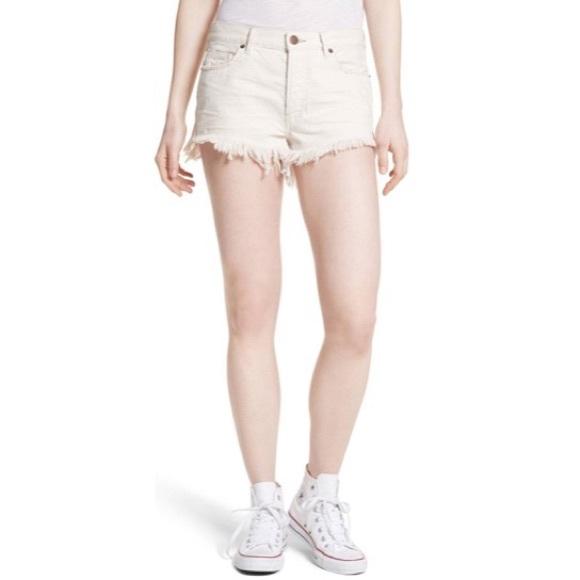 NWT Free People Cut-Off Denim Shorts in Worn White